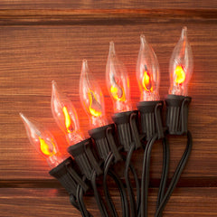 String Lights, Flickering Flame Bulb, 100 Ft Black Wire, Outdoor