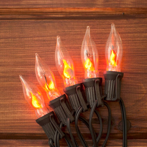 String Lights, Flickering Flame Bulb, 50 Ft Black Wire, Outdoor