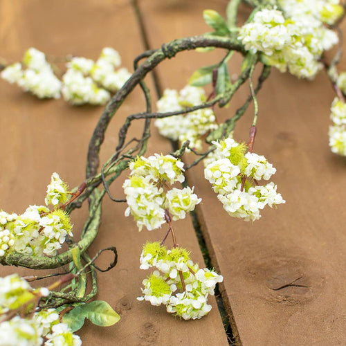 Viburnum Garland, Artificial Blossom, Faux Branch, 6 ft, White & Green