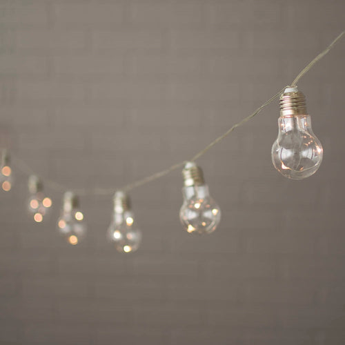 String Lights, Acrylic Bulbs w/ Fairy LEDs, 11 ft, Battery, Warm White