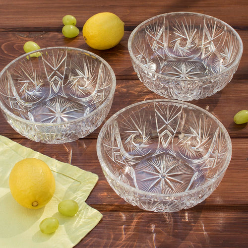 Bowl, Crystal Cut Plastic, 6.5 in x 2.5 in, Clear, Event Pack of 36
