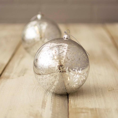 Ornament Balls, Mercury Glass Inspired, Plastic, 4 in, Silver, 6 Pack