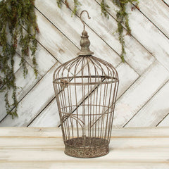 Wire Bird Cage, 8 in. wide x 17.5 in. tall, Hinged Top, Brown & Gray