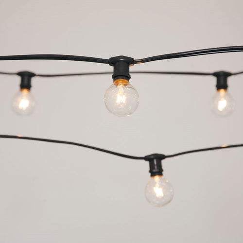 Commercial Globe String Lights, 50ft E12 Black Wire, G40 Bulbs, Clear