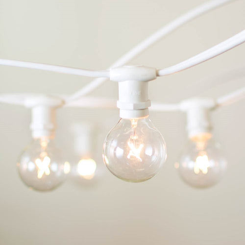 Commercial Globe String Lights, 50ft E12 White Wire, G40 Bulbs, Clear