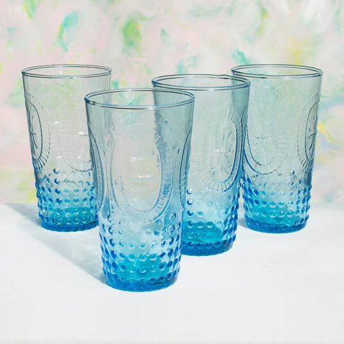 Glass Tumblers, Vintage Inspired Pressed Glass, 14 oz Blue, 4 pk