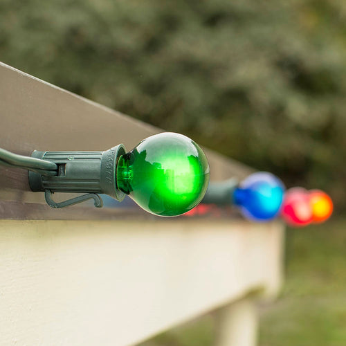 Magnetic Globe String Lights, G30, 24Ft Green C7 Wire, Multicolor