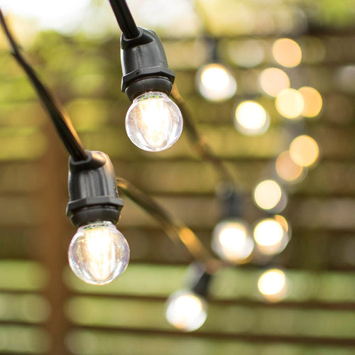 Commercial LED Globe String Lights, 56Ft Black C9 Wire, Acrylic G30, Warm White