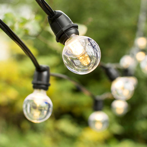 Commercial LED Globe String Lights, 56Ft Black C9 Wire, Acrylic G40, Warm White