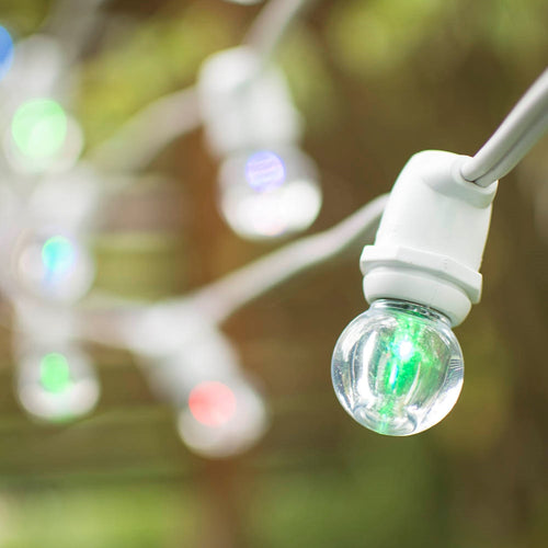 Commercial LED Globe String Lights, 56Ft White C9 Wire, G30, Color Changing