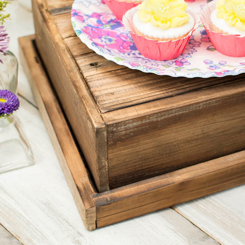 Dessert Pedestal, Reclaimed Wood Pie Box with Lid, 13.75in. Square