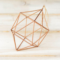 Geometric Wire Hanging Ornament, 7.5 in tall x 4.75 in. wide, Copper