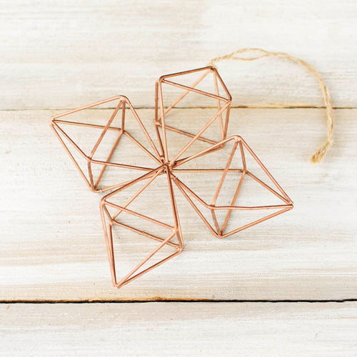 Geometric Wire Hanging Ornament, 7 in tall x 2 in. depth, Copper