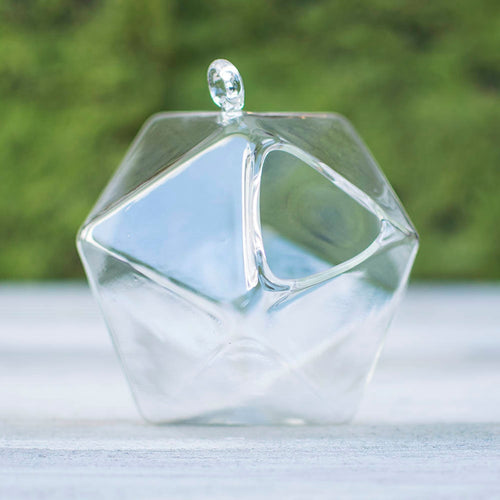 Glass Terrarium, Modern Geometric Vase, Hanging Ornament, 5 in, Clear