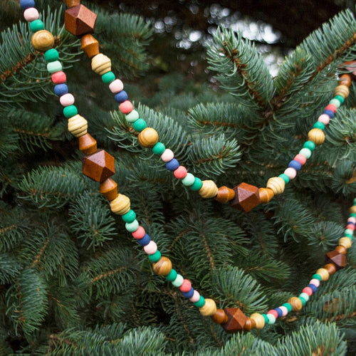 Garland, Assorted Wood Beads, 6.5 feet, Multicolor