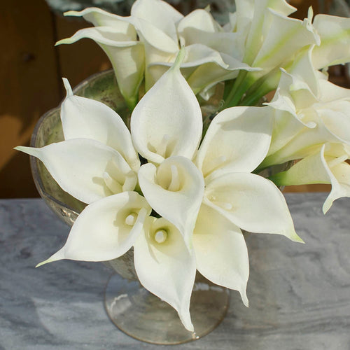 Mini Calla Lilies, Artificial Flowers, Faux Floral, 6 in, White, 72 Pc
