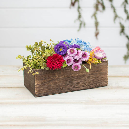 Wood Planter Box, Rustic Vase, Rectangle, 10.75in x 5in, Brown Stain