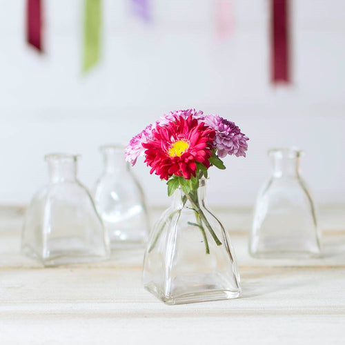 Glass Bud Vase, Angular Bottle, 2 in. wide x 3 in, Clear, 12 pack
