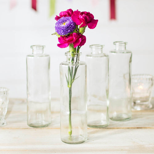 Glass Bud Vase, Cylinder Bottle, 2 in. round x 7 in. tall, Clear, 12 pk