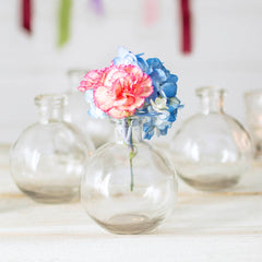Glass Bud Vase, Round Bottle, 3.5 in Diameter x 4.25 in, Clear, 12 pack