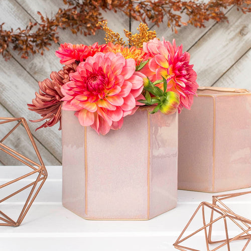 Hexagonal Vase, Ceramic Planter Pot, Geometric, 5 in, Pink, 4 Pack