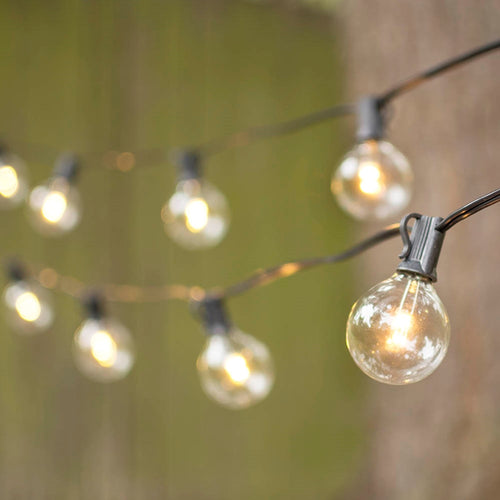 LED Globe String Lights, G50 Bulb, 50 Ft Black C7 Strand, Warm White