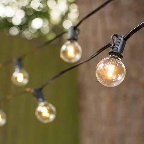 Commercial Globe String Lights, Acrylic Edison LED, 48 ft, Black Wire, Warm White
