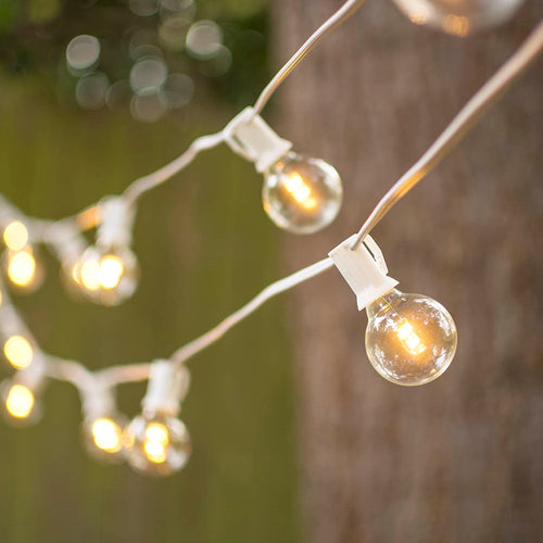 LED Globe String Lights, G40 Bulb, 25 Ft White C7 Strand, Warm White