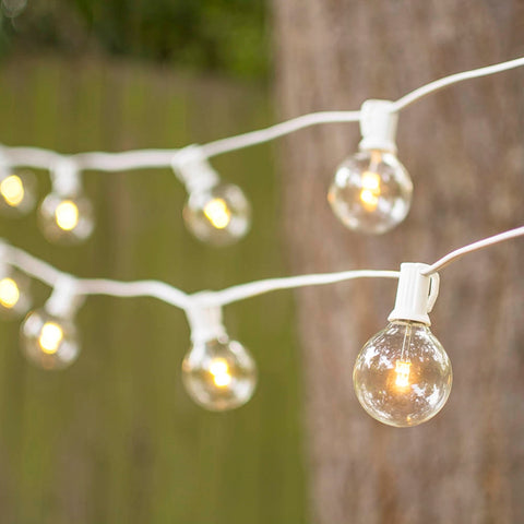 Commercial Globe String Lights, Acrylic Edison LED, 54 ft, White Wire, Warm White