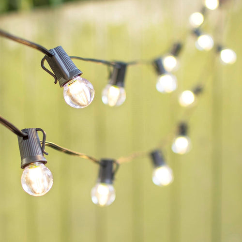 LED Globe String Lights, G30 Bulb, 100 Ft Black C9 Strand, Warm White