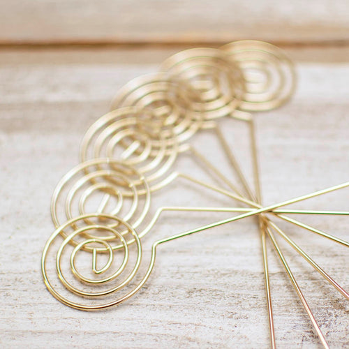 Table Number Picks, Spiral Place Card Holders, 6 in, Gold, 6 Pack
