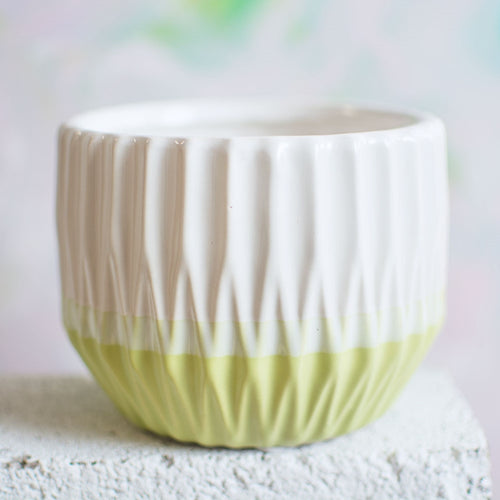 Vase, Ceramic, Round Ribbed Planter Pot, Geometric, 4in, White & Green