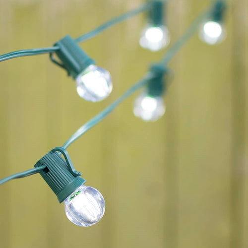 LED Globe String Lights, G30 Bulb, 25 Ft Green C9 Strand, Cool White