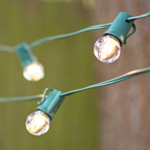 LED Globe String Lights, G30 Bulb, 25 Ft Green C9 Strand, Warm White