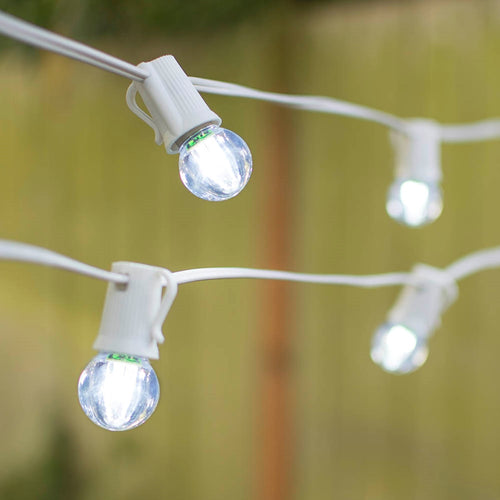 LED Globe String Lights, G30 Bulb, 25 Ft White C9 Strand, Cool White