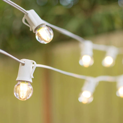 Commercial Edison LED Drop String Lights, 48 Foot Black Wire, Warm White