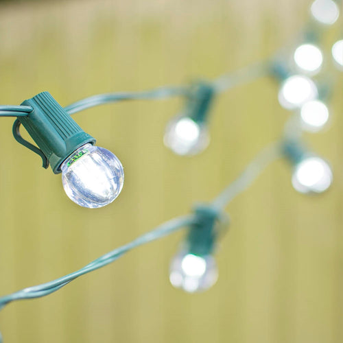 LED Globe String Lights, G30 Bulb, 50 Ft Green C9 Strand, Cool White