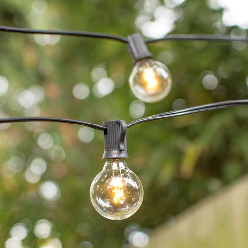 Globe String Lights, 1.5 in. Glass LED Bulbs, 10ft. Black Wire, Warm White
