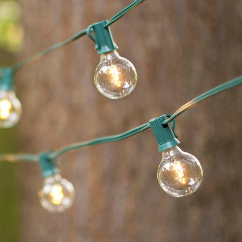 Globe String Lights, 1.5 in. Glass LED Bulbs, 10ft. Green Wire, Warm White