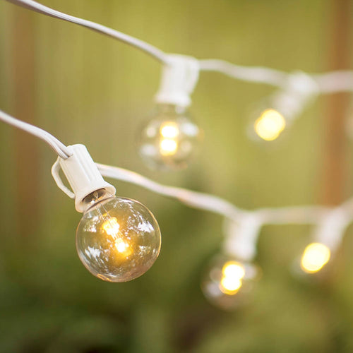 Globe String Lights, 1.5 in. Glass LED Bulbs, 10ft. White Wire, Warm White