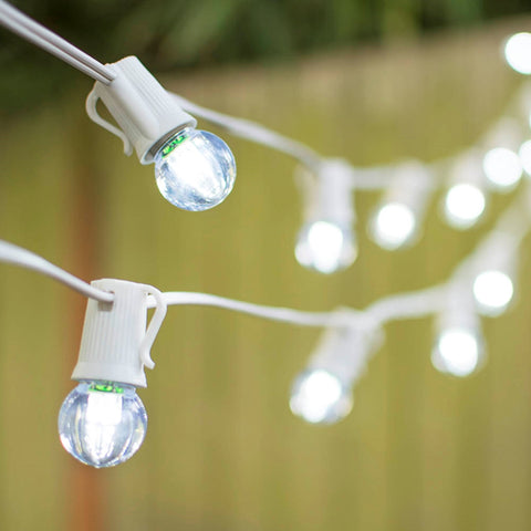 Patriotic Globe String Lights, 1.5 in G40, 50 ft White Wire C7, Red White & Blue