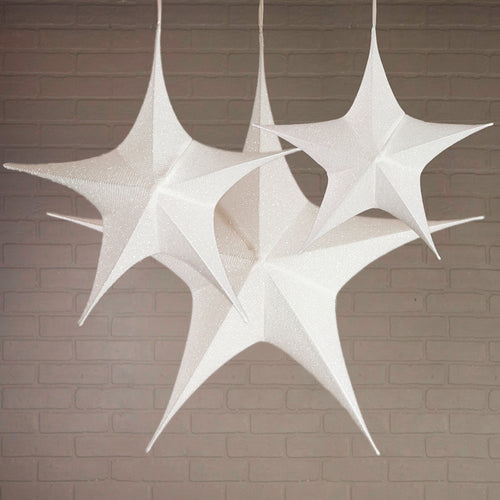 Fabric Star Lantern, Wire Frame, Sparkle White, Assorted Set of 3
