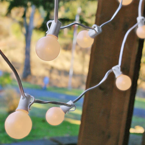 Globe String Lights, 1.5 Inch E12 Bulbs, 75 Foot White Wire C7 Strand, Pearl White