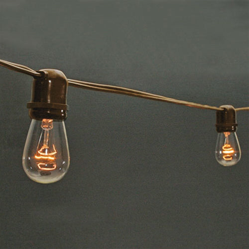 Commercial Globe String Lights, 100 Foot Brown Wire, S14 Clear Bulbs