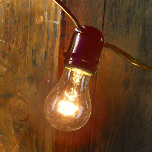 Commercial Globe String Lights, 37 Foot Brown Wire, A15 Clear Bulbs