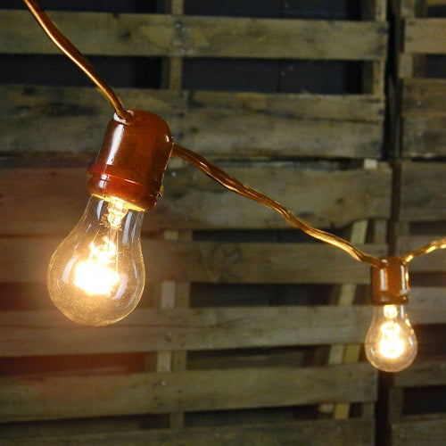 Commercial Globe String Lights, 100 Foot Brown Wire, A15 Clear Bulbs