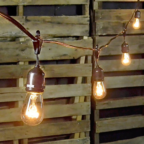 Commercial Grade Edison Drop String Lights, 100 Ft Brown Wire, S14 Clear Bulbs