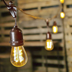 LED Commercial Grade Edison Drop String Lights, 100 Ft Brown Wire, S14, Warm White