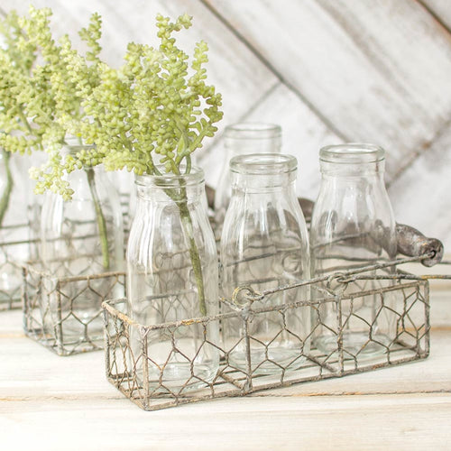 Chicken Wire Basket, 3 Vintage Glass Milk Bottles, Wood Handles, 3 Pk