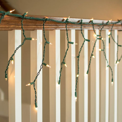 Outdoor LED Icicle Lights, Mini-ice Bulbs, 7 ft Green Wire, WARM WHITE
